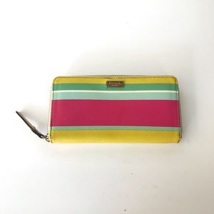 Kate Spade Pastel Striped Zip Up Wallet